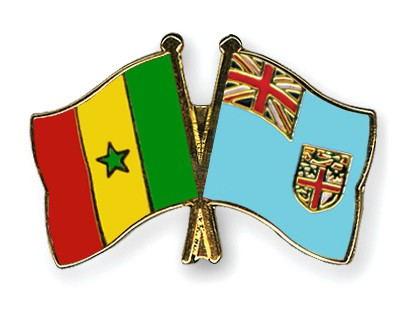 Crossed Flag Pins Senegal-Fiji