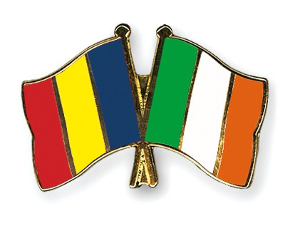 Special Offer Crossed Flag Pins Romania-Ireland