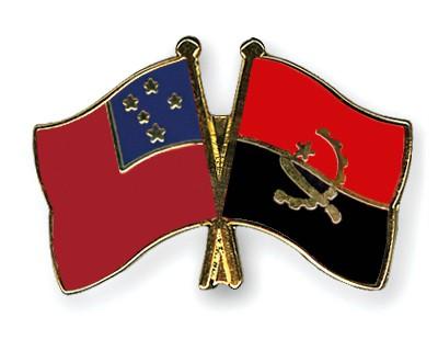 Crossed Flag Pins Samoa-Angola