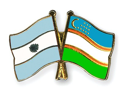 Crossed Flag Pins Argentina-Uzbekistan