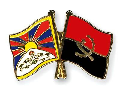 Crossed Flag Pins Tibet-Angola
