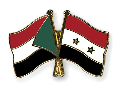 Crossed Flag Pins Sudan-Syria