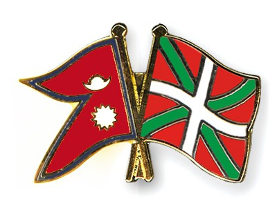 Crossed Flag Pins Nepal-Basque-country