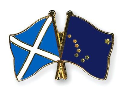 Crossed Flag Pins Scotland-Alaska