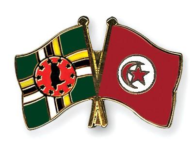 Crossed Flag Pins Dominica-Tunisia