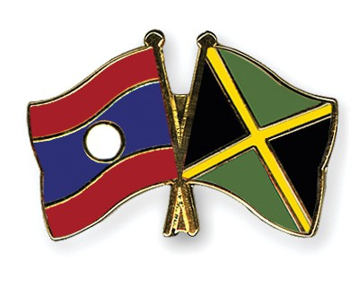 Crossed Flag Pins Laos-Jamaica