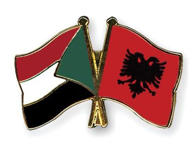 Crossed Flag Pins Sudan-Albania