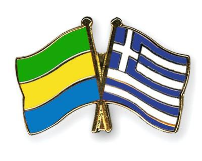 Crossed Flag Pins Gabon-Greece