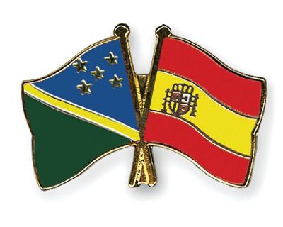 Crossed Flag Pins Solomon-Islands-Spain