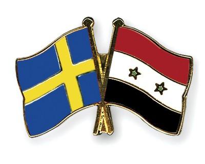 Crossed Flag Pins Sweden-Syria
