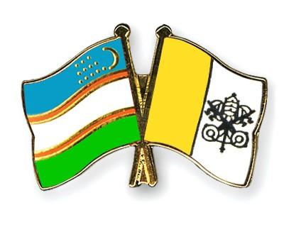 Crossed Flag Pins Uzbekistan-Vatican-City