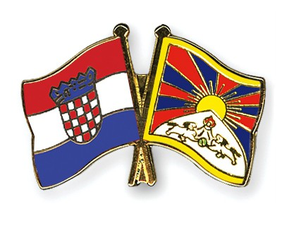 Crossed Flag Pins Croatia-Tibet