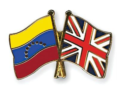Crossed Flag Pins Venezuela-Great-Britain