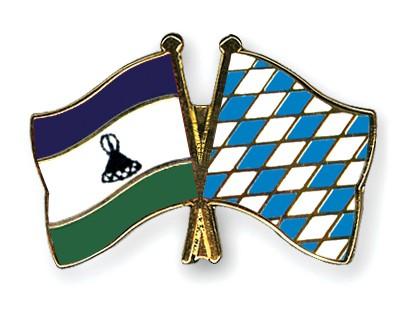 Crossed Flag Pins Lesotho-Bavaria