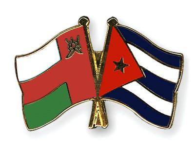 Crossed Flag Pins Oman-Cuba