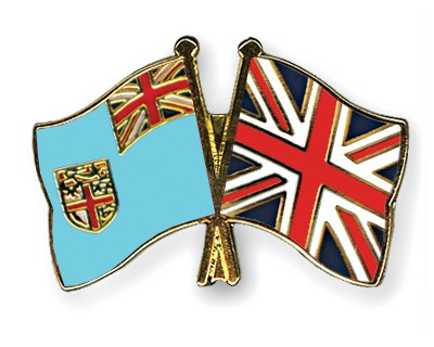 Crossed Flag Pins Fiji-Great-Britain