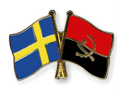 Crossed Flag Pins Sweden-Angola