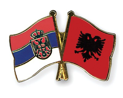 Crossed Flag Pins Serbia-without-Crest-Albania