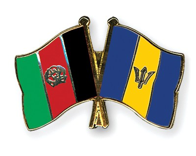 Crossed Flag Pins Afghanistan-Barbados