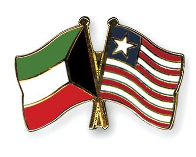 Crossed Flag Pins Kuwait-Liberia