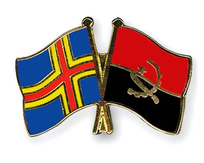 Crossed Flag Pins Aland-Angola