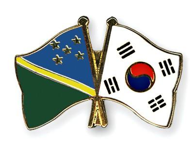 Crossed Flag Pins Solomon-Islands-South-Korea