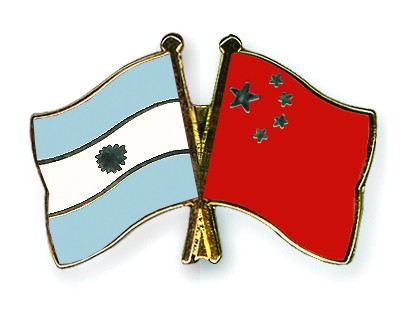 Crossed Flag Pins Argentina-China