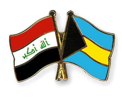 Crossed Flag Pins Iraq-Bahamas
