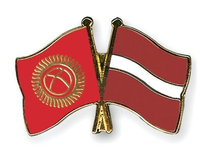 Crossed Flag Pins Kyrgyzstan-Latvia