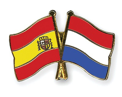 Crossed Flag Pins Spain-Netherlands