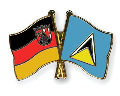 Crossed Flag Pins Rhineland-Palatinate-Saint-Lucia