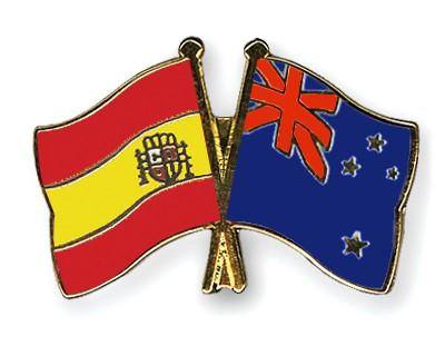 Crossed Flag Pins Spain-New-Zealand