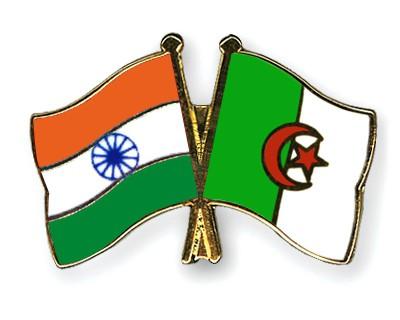 Crossed Flag Pins India-Algeria