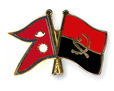 Crossed Flag Pins Nepal-Angola