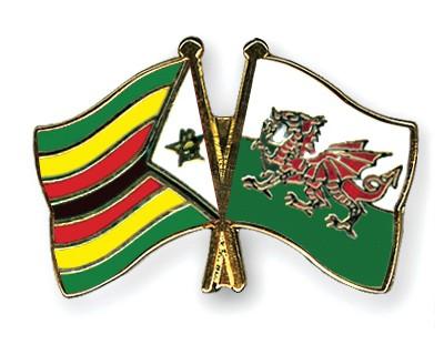 Crossed Flag Pins Zimbabwe-Wales