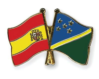 Crossed Flag Pins Spain-Solomon-Islands