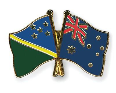 Crossed Flag Pins Solomon-Islands-Australia