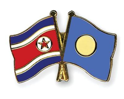 Crossed Flag Pins North-Korea-Palau