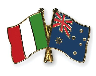 Special Offer Crossed Flag Pins Italy-Australia