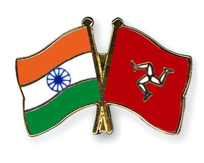 Crossed Flag Pins India-The-Isle-of-Man