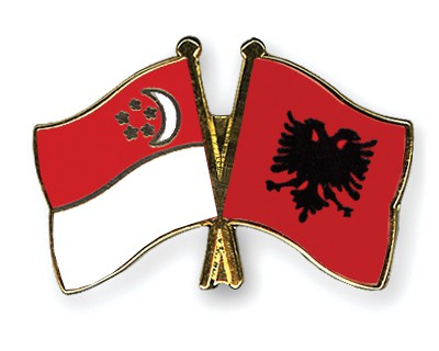 Crossed Flag Pins Singapore-Albania