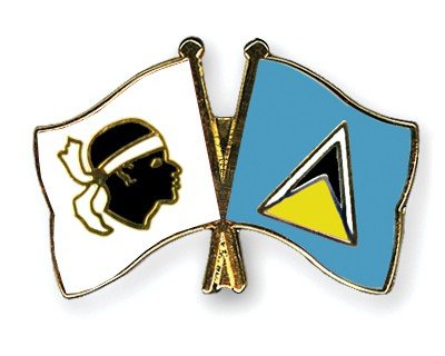 Crossed Flag Pins Corsica-Saint-Lucia