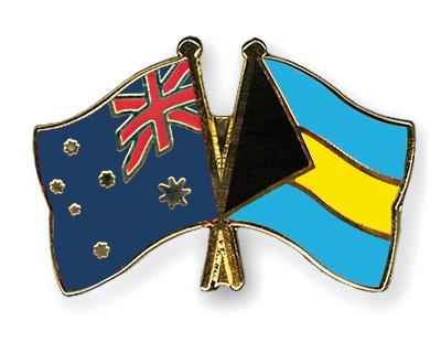 Crossed Flag Pins Australia-Bahamas