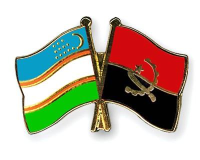 Crossed Flag Pins Uzbekistan-Angola
