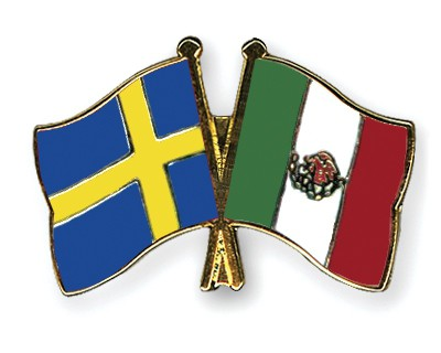 Special Offer Crossed Flag Pins Sweden-Mexico