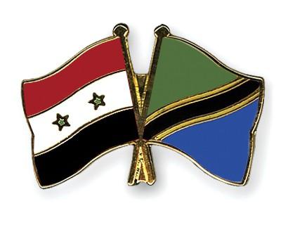 Crossed Flag Pins Syria-Tanzania