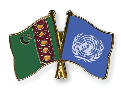 Crossed Flag Pins Turkmenistan-UNO