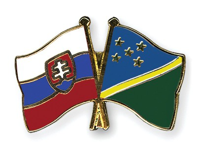 Crossed Flag Pins Slovakia-Solomon-Islands