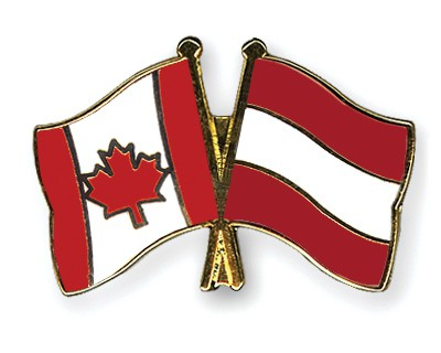 Special Offer Crossed Flag Pins Canada-Austria
