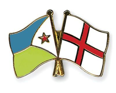 Crossed Flag Pins Djibouti-England
